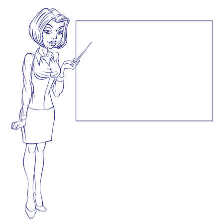 Cartoon of a cute business woman pointing to rising business trends Vector