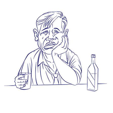 empresario triste: Hombre de negocios triste con un biber�n. Ilustraci�n en blanco
