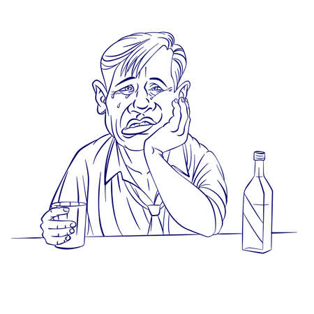 drunk party: Sad businessman with a bottle. Illustration on white