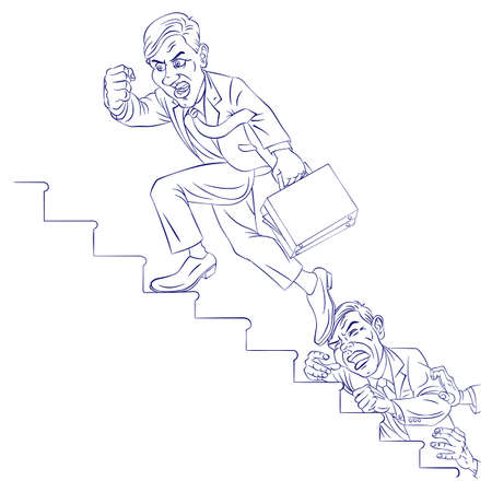 climbing ladder: Businessman climbing the corporate ladder. Illustration for design Illustration