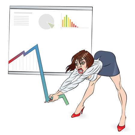 Businesswoman corrects schedule. Color illustration on white Vector