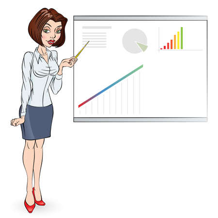 Cartoon of a business woman pointing to rising business trends. Illustration for design Stock Vector - 16954693
