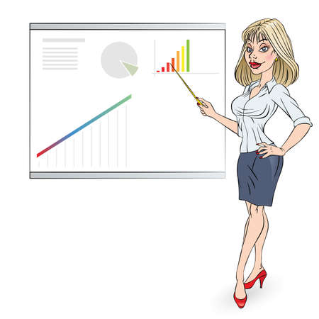 sales executive: Cartoon of a business woman pointing to rising business trends. Illustration in color Illustration