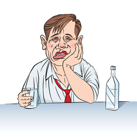 Sad businessman with a bottle. Illustration in color on white Vector