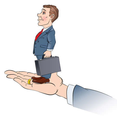 businessteam: Businessman stands on the hand. Color Illustration on white.