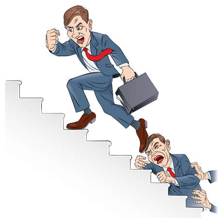 job promotion: Businessman climbing the corporate ladder. Illustration in color on white