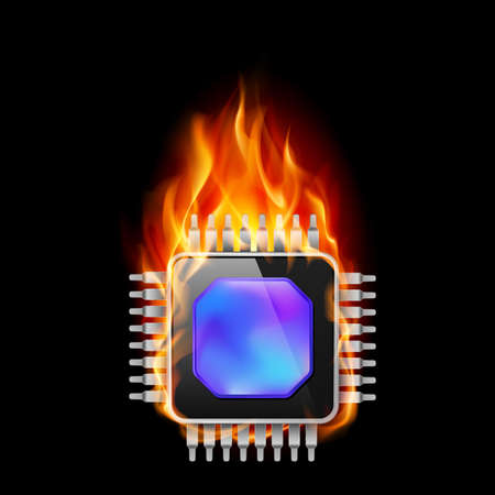 Burning Processor. Illustration on black background Stock Vector - 16955078