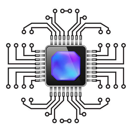 componentes electronicos: Placa de circuito impreso. CPU. Ilustraci�n en blanco