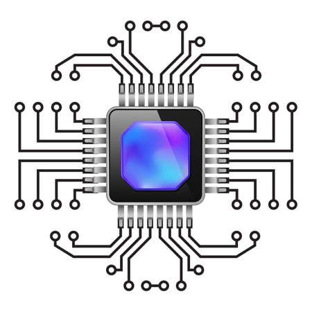 printed circuit board: Printed Circuit Board. CPU. Illustration sur fond blanc