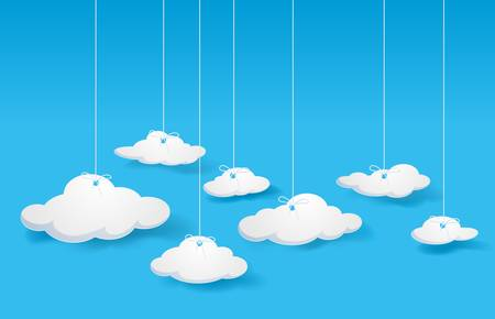 Clouds on ropes. Abstract illustration on blue Stock Vector - 16954590