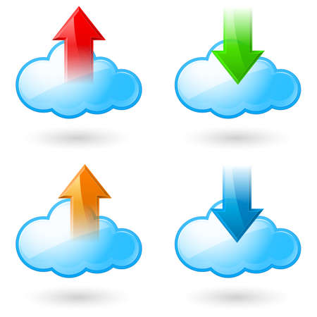 Set of Cloud with Arrows. Illustration on white background Stock Vector - 16954679