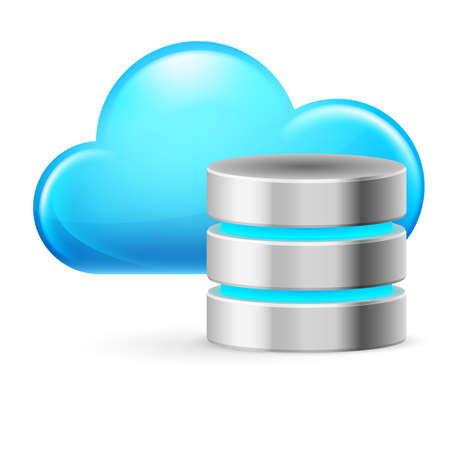 datacenter: Cloud computing and Database. Illustration on white background