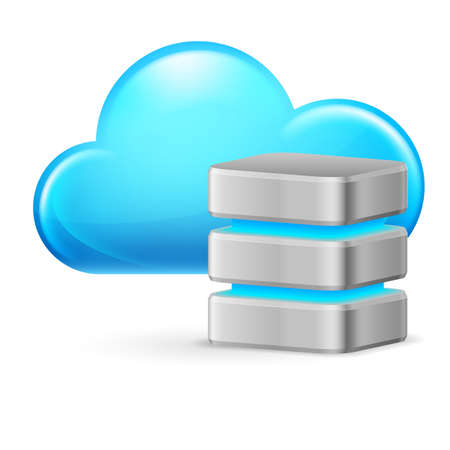 sql: Cloud computing and remote Database. Illustration on white background