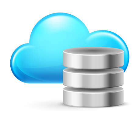 datacenter: Cloud computing and Database. Illustration on white