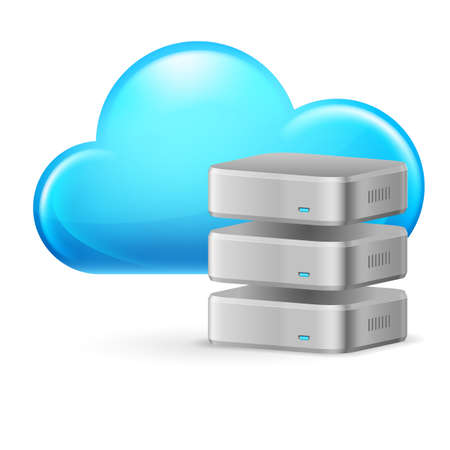 Cloud computing and remote Database. Illustration on white Stock Vector - 16955064