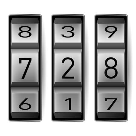 entry numbers: Metallic combination lock with three number. Vector illustration.