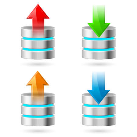 hdd: Computer Database with Upload and Download Arrows