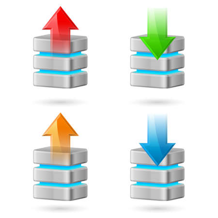 Set of Computer Database with Upload and Download Arrows Vector