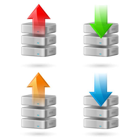 Icon Set of Computer Database with Upload and Download Arrows Stock Vector - 16954698