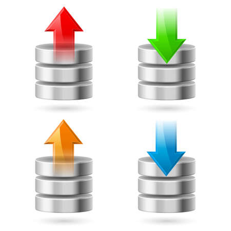 Computer Database with Upload and Download Arrows. Illustration on white Vector