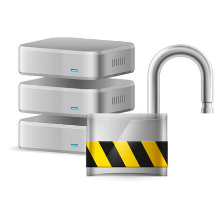Open padlock - computer security concept. Illustration on white Vector