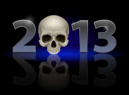 twenty thirteen: Twenty Thirteen Year. Skull. Illustration on black background
