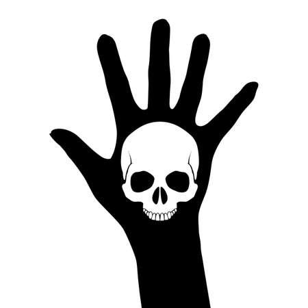Skull on the hand. Illustration on white Vector