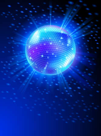 Sparkling Disco Ball on Blue Light Burst Vector