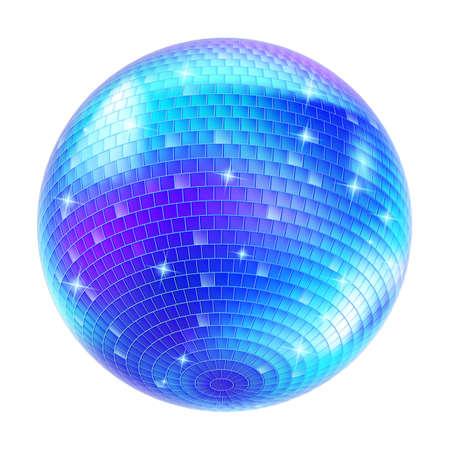 Blue Disco Ball on white background for design Vector