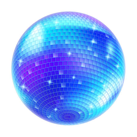 Mirror Ball: Blue Disco Ball on white background for design