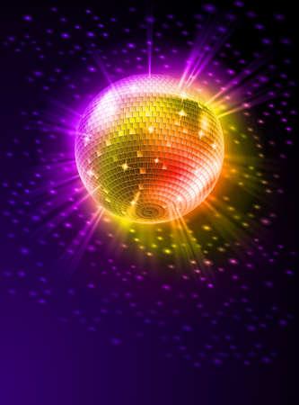 dance music: Mousserende Disco Ball on Orange Light Burst Stock Illustratie