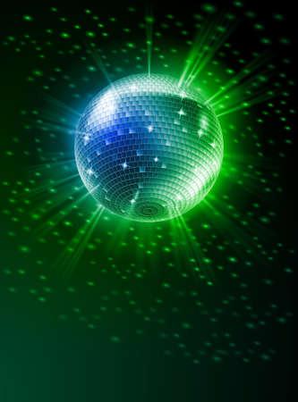 Sparkling Disco Ball on Green Light Burst Vector