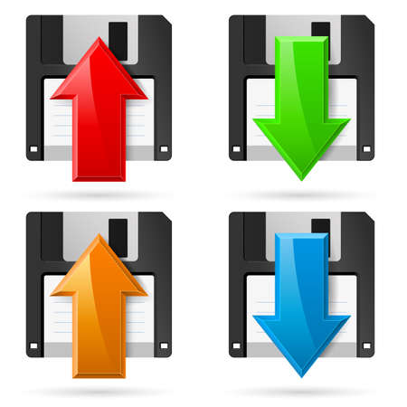 Floppy icons Upload and Download. Illustration on white Stock Vector - 16954627