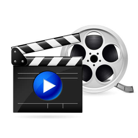Open movie clapboard and  realistic reel of film Vector