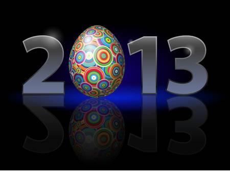 twenty thirteen: Twenty Thirteen Year. Easter. Illustration on black background