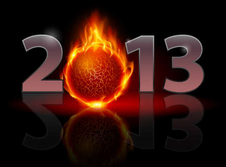 twenty thirteen: Twenty Thirteen Year. Fire ball. Illustration on black background