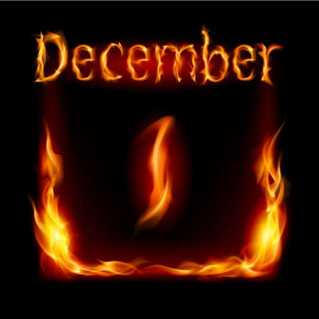 urgently: First December in Calendar of Fire. Icon on black background