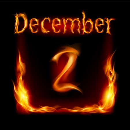 Second December in Calendar of Fire. Icon on black background Stock Vector - 16955039