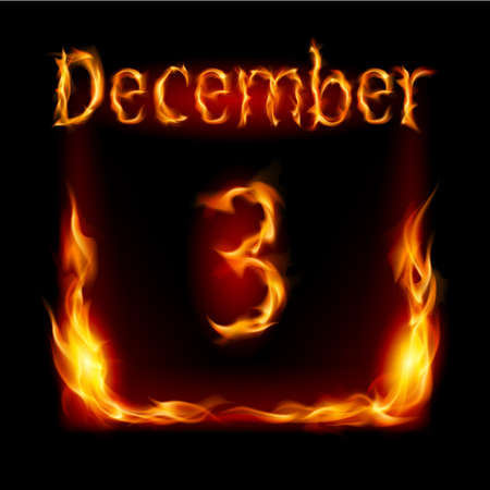 Third December in Calendar of Fire. Icon on black background Stock Vector - 16955051