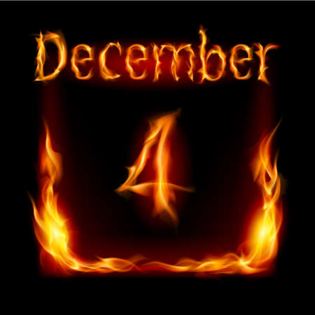 urgently: Fourth December in Calendar of Fire. Icon on black background