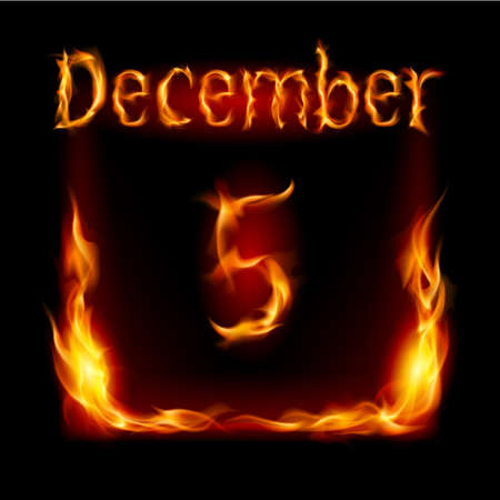 urgently: Fifth December in Calendar of Fire. Icon on black background