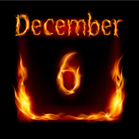 urgently: Sixth December in Calendar of Fire. Icon on black background