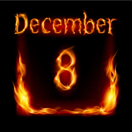 urgently: Eighth December in Calendar of Fire. Icon on black background