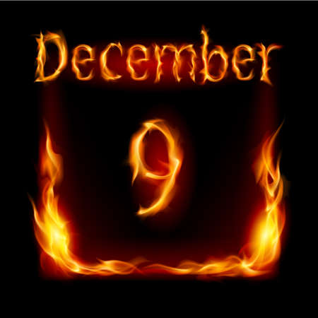 ninth: Ninth December in Calendar of Fire. Icon on black background Illustration