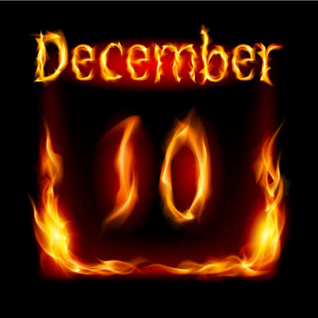urgently: Tenth December in Calendar of Fire. Icon on black background