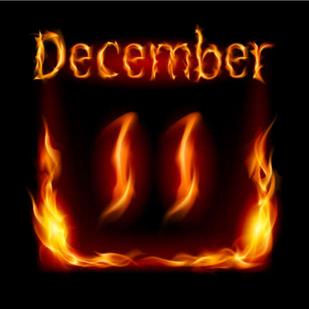 urgently: Eleventh December in Calendar of Fire. Icon on black background Illustration