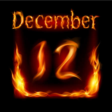 urgently: Twelfth December in Calendar of Fire. Icon on black background
