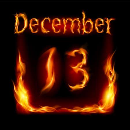 urgently: Thirteenth December in Calendar of Fire. Icon on black background