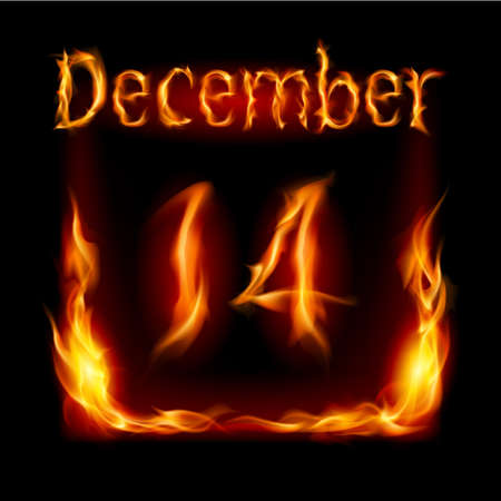 urgently: Fourteenth December in Calendar of Fire. Icon on black background