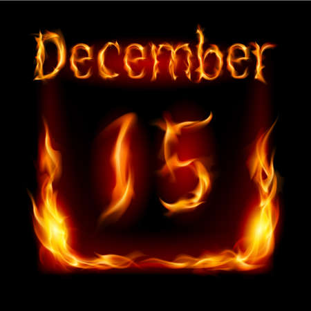 urgently: Fifteenth December in Calendar of Fire. Icon on black background
